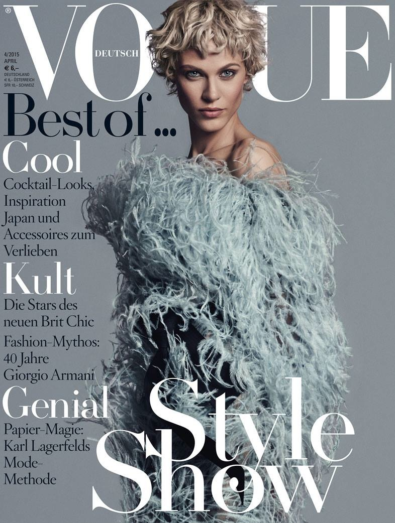 Aymeline Valade wears a furry look for Vogue Germany's April 2015 cover photographed by Giampaolo Sgura.