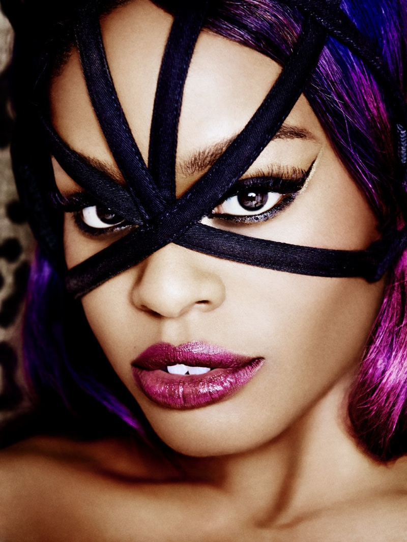 Azealia Banks wears a mask for a feature in Playboy Magazine.