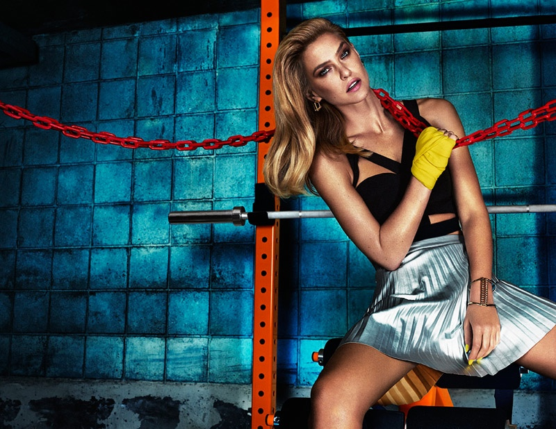 The Israeli model poses in a workout themed shoot where she flaunts her famous body.