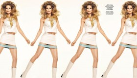 Clad in a Versace mini dress, Doutzen channels sci-fi character Barbarella.