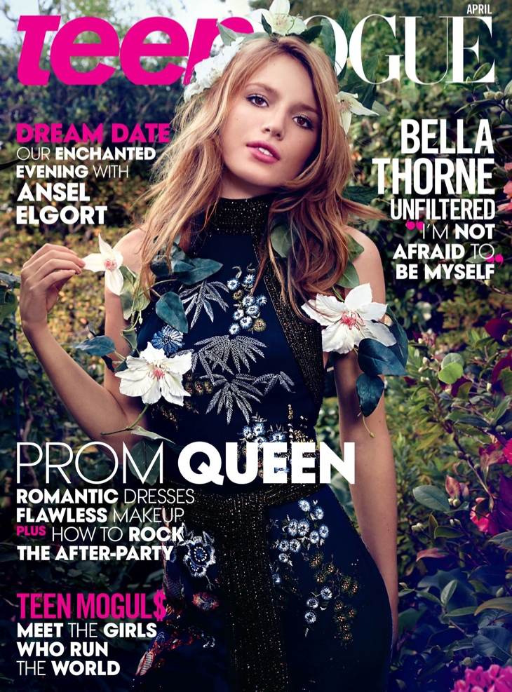 Bella Thorne graces the April 2015 cover from Teen Vogue wearing an embellished dress.