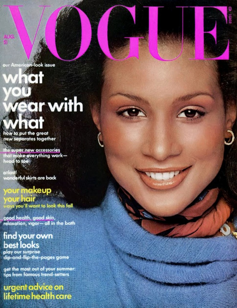 Beverly Johnson on Vogue's August 1974 cover. She was the first black model to cover the magazine and would appear on the magazine two times after.