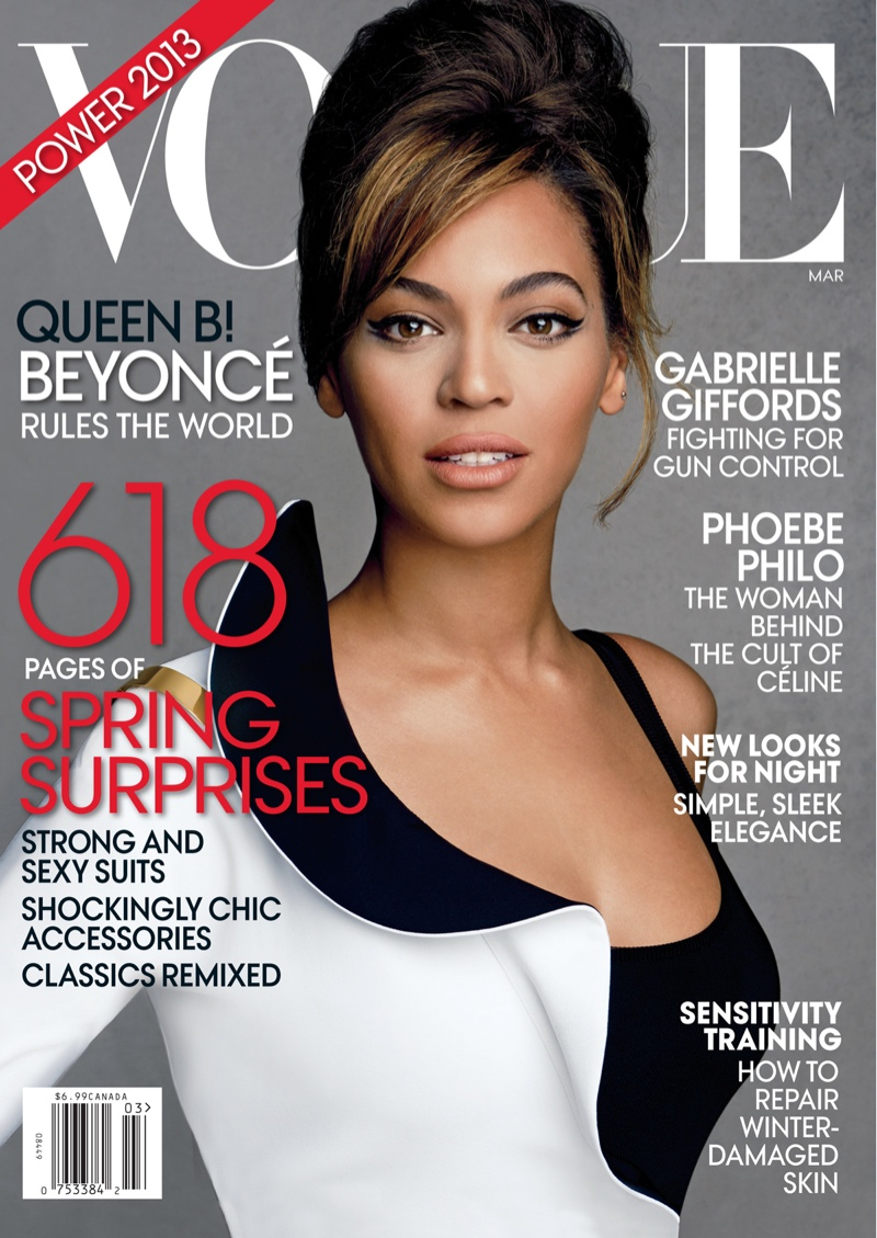 Beyonce poses on the March 2013 cover from Vogue. She has graced two covers of the magazine.