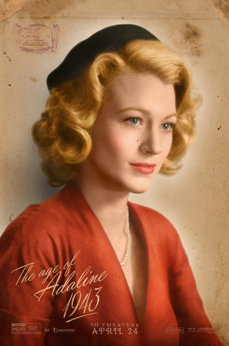 Blake Lively wears a 1940s hairstyle on 'The Age of Adaline' movie poster.  (2015)