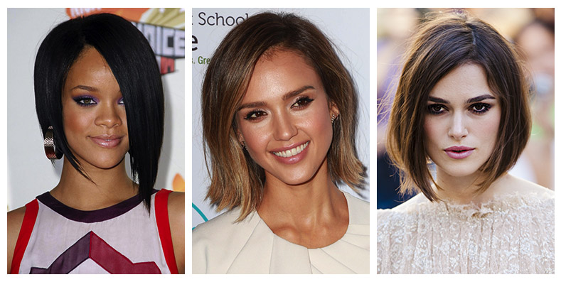 Bob length hairstyles on Rihanna, Jessica Alba and Keira Knightley. Photo: Shutterstock.com