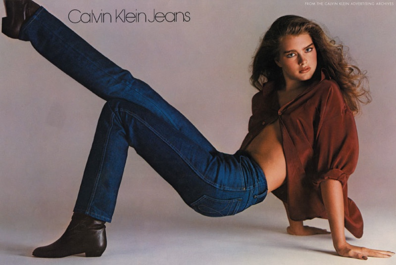 In 1980, Brooke Shields appeared in Calvin Klein Jeans ad campaign. With the tagline: You want to know what comes between me and my Calvins? Nothing.