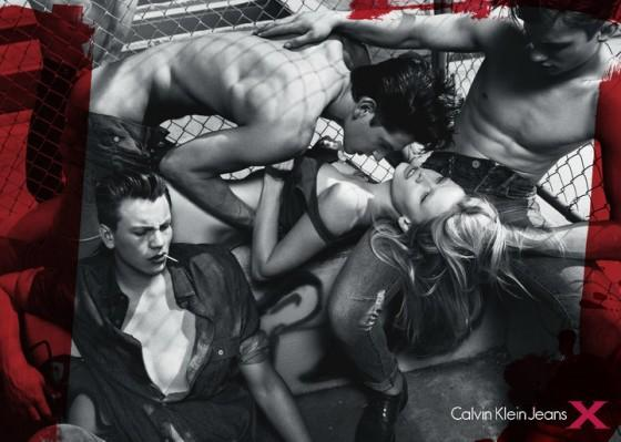In 2010, Lara Stone starred in a Calvin Klein ad campaign which featured three half clothed male models photographed by Mert & Marcus. Many felt the image suggested violence and rape. The ad was banned from billboards in Australia.