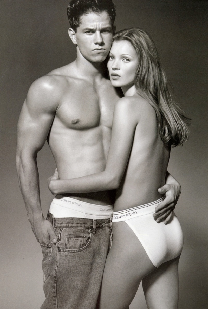 Mark Wahlberg and Kate Moss star in the 1992 CK campaign from Calvin Klein photographed by Herb Ritts. Kate was only 17-years-old and posing topless, it was a controversial image.