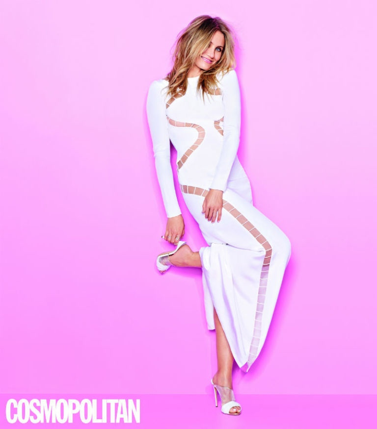 Cameron Diaz wears a sexy white dress with well-placed cut-outs in Cosmopolitan UK.