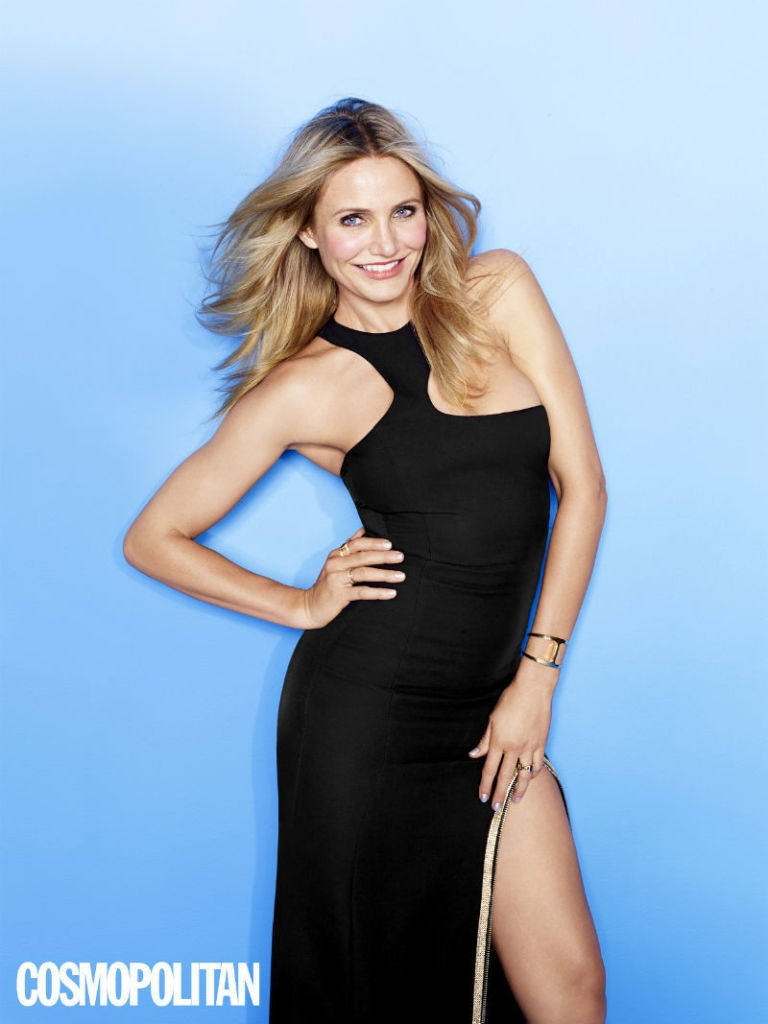 The actress rocks a black dress for the shoot too.
