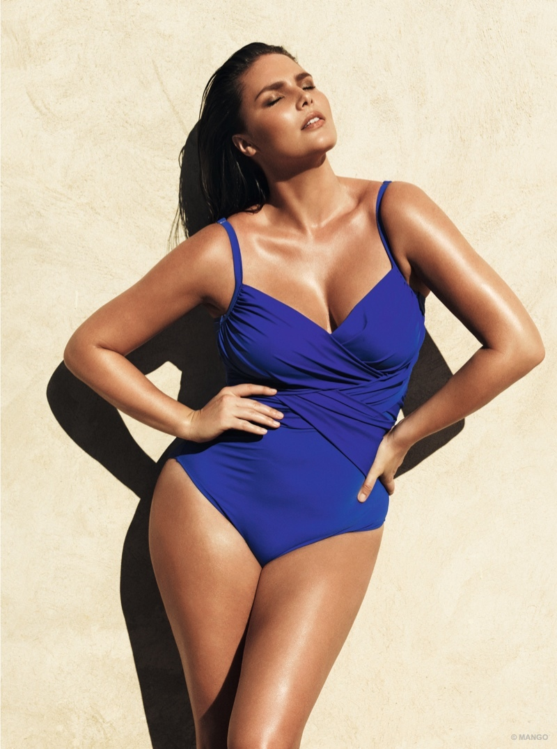Candice Huffine is the star of Violeta by Mango's swimsuit 2015 campaign.