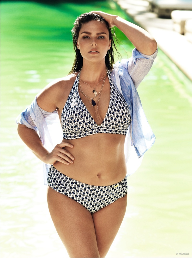 Plus-size model Candice Huffine wears a black and white bikini from Violeta by Mango