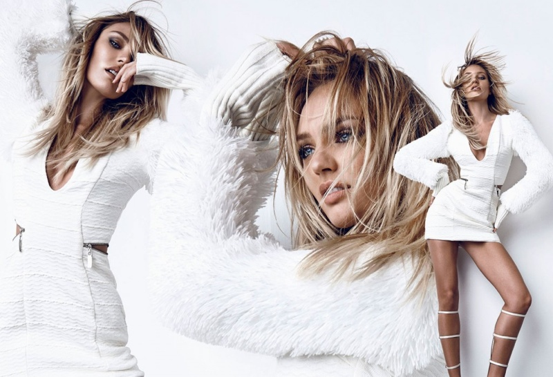 Wearing winter white, Candice Swanepoel stars in the winter 2015 campaign from Brazilian brand Osmoze.