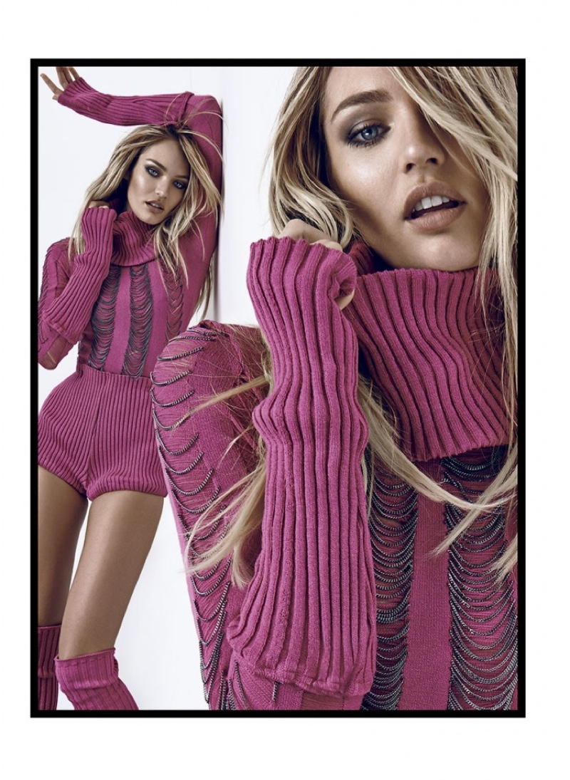 Wearing a pink sweater, Candice brings the heat no matter the time of year.