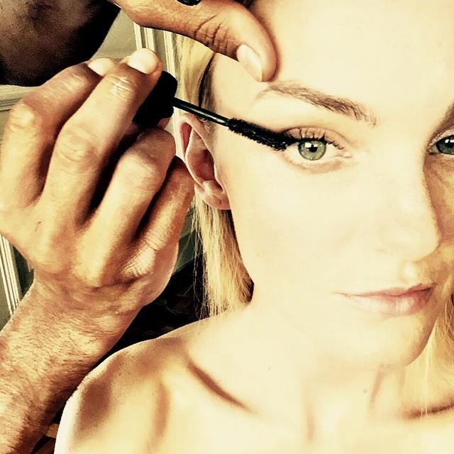 Caroline Trentini gets her eye makeup done