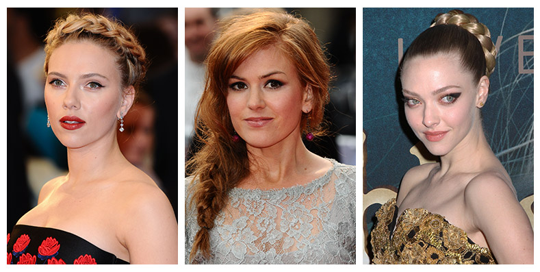 Scarlett Johansson, Isla Fisher and Amanda Seyfried show off braided hairstyles. Photos: Shutterstock.com
