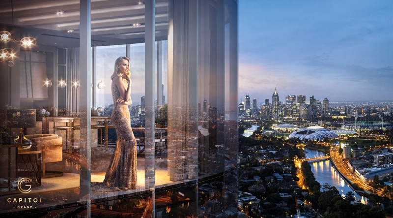 Charlize Theron stars in a new campaign for Capitol Grand, a real estate development in Australia's South Yarra