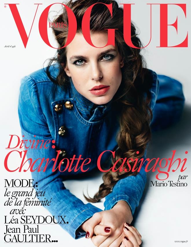 Charlotte Casiraghi gets clad in denim for the April 2015 cover from Vogue Paris lensed by Mario Testino.