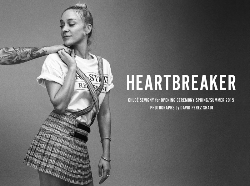 Chloe Sevigny poses in a photo shoot for Opening Ceremony wearing her spring-summer 2015 collaboration with the brand.