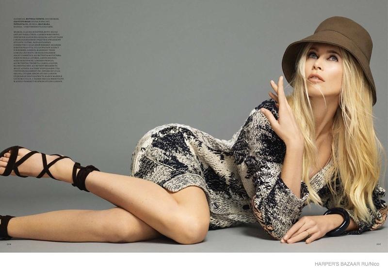 Wearing a Max Mara hat and dress from Bottega Veneta, Claudia is timeless.