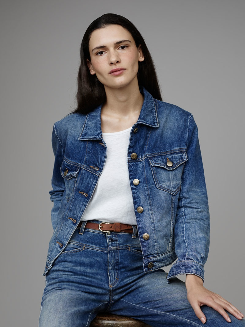 A look from Closed's pre-fall 2015 denim lookbook featuring a top, pants and tee.