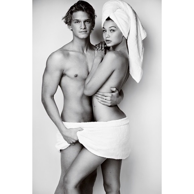 Cody Simpson & Gigi Hadid go nearly naked for Mario Testino's 'Towel Series'. The pair are currently dating.