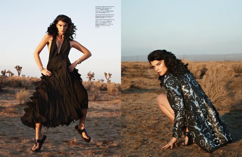 (L) Crystal wears a black Ralph Lauren ruffled dress (R) Crystal models sequin dress from Louis Vuitton