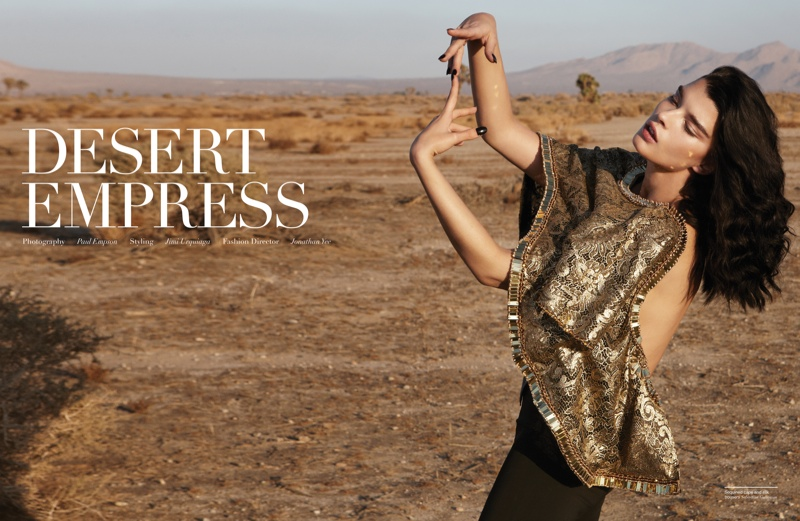 The American model poses in a fashion feature spotlighting desert style.