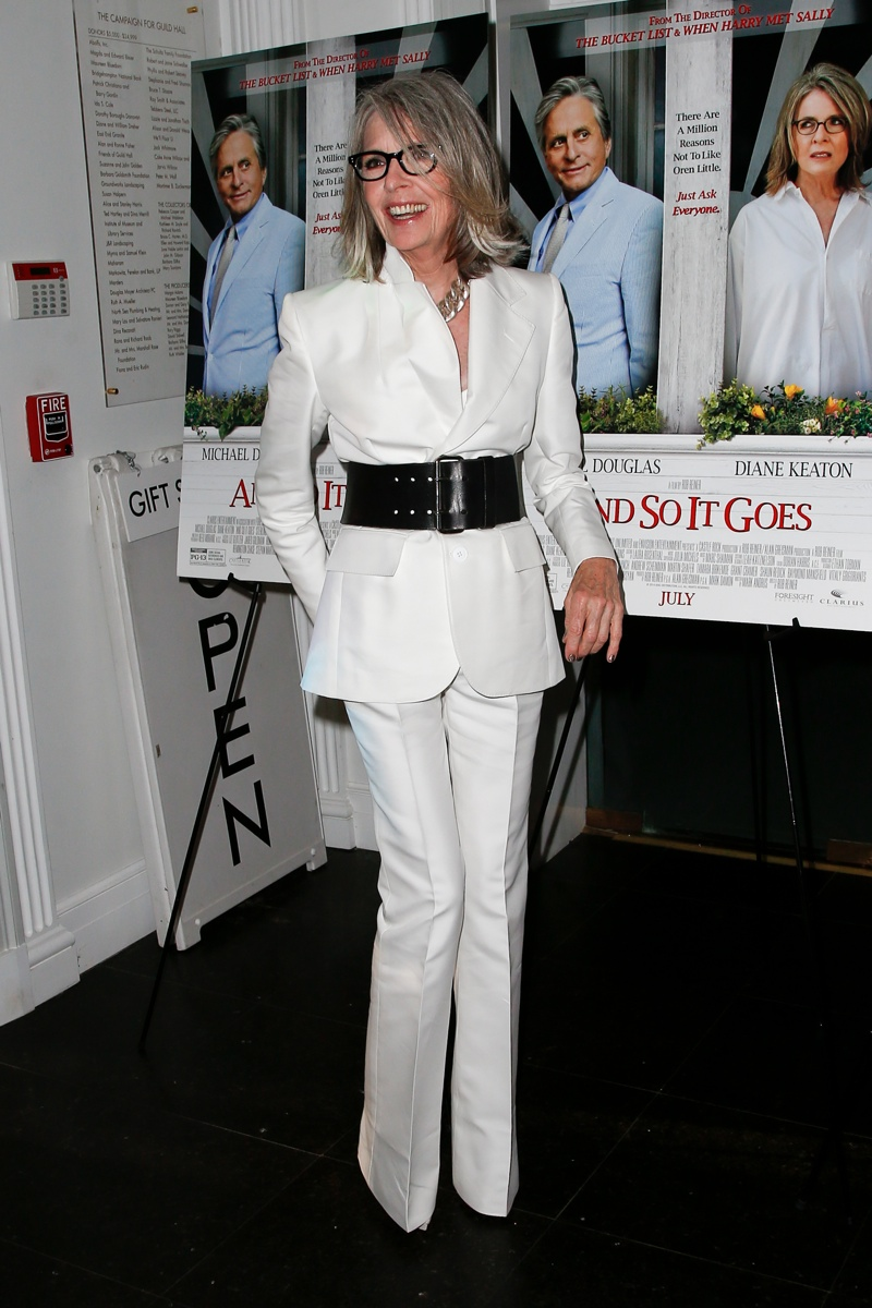 Diane Keaton paired a wide-legged pant suit with a wide black belt. Photo: Shutterstock.com