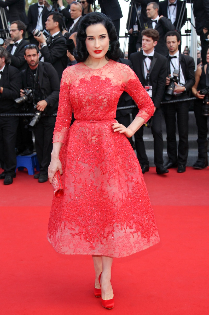 Dita Von Teese wore a tea cup length Elie Saab Haute Couture Spring Summer 2013 dress at the 66th Annual Cannes Film Festival. Photo: Pixplanete / PR Photos