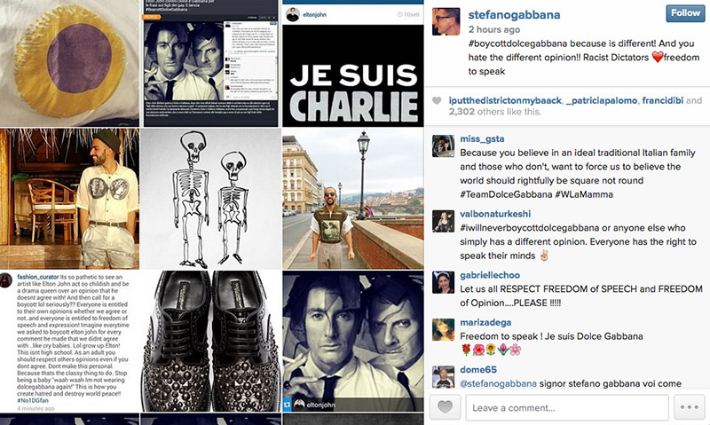 """Stefano Gabbana posted a collage of images with the phrase """"#boycottdolcegabbana because is different! And you hate the different opinion!! Racist Dictators"""" on his Instagram."""