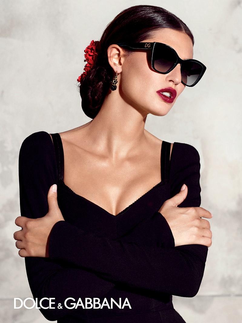Clad in black, Bianca models Dolce & Gabbana's spring eyewear line.