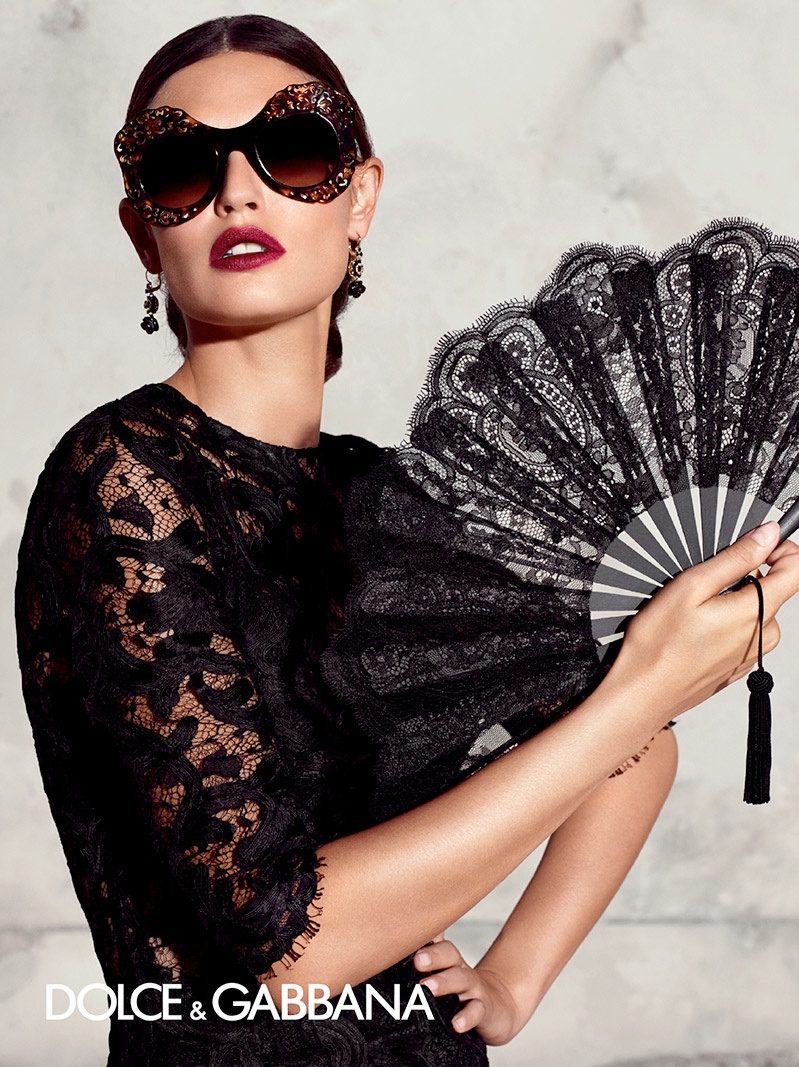 a fan and lace bring a touch of flair to dolce gabbanas spring eyewear designs
