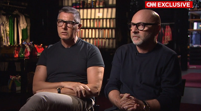 Dolce & Gabbana sat down with CNN for an interview about their controversial comments. Screen grab via CNN.
