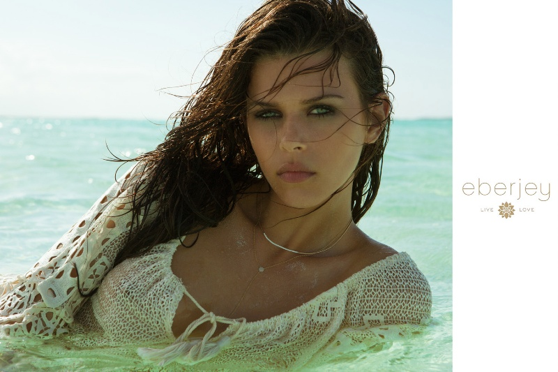 Georgia Fowler takes a dip in the sea for Eberjey's spring swim advertisements.