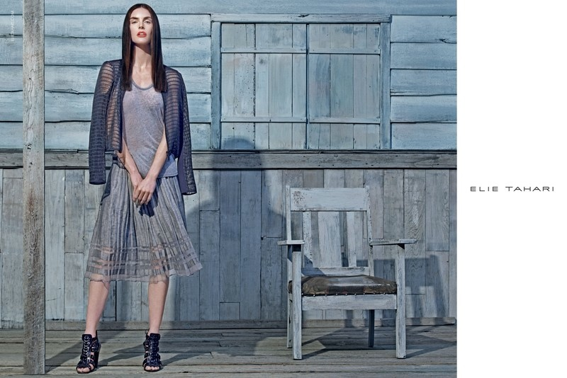 Hilary Rhoda stars in Elie Tahari's spring-summer 2015 campaign photographed by Steven Klein.