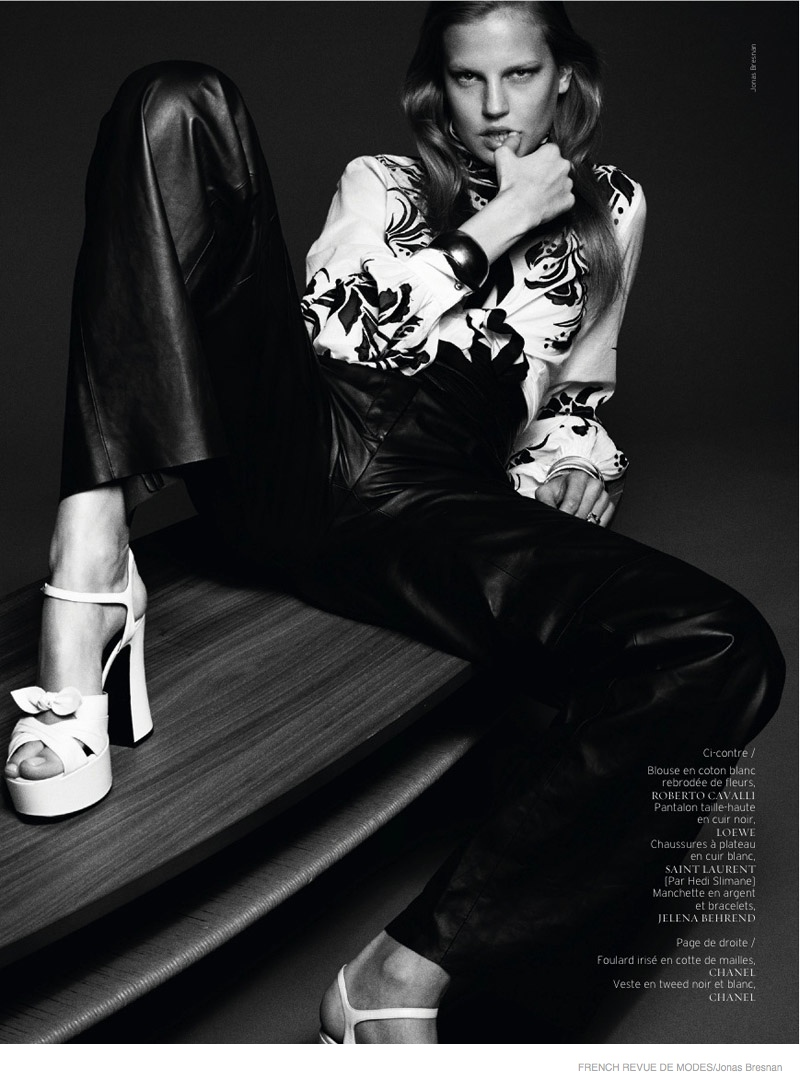 Elisabeth rocks platform shoes in this black and white shot.