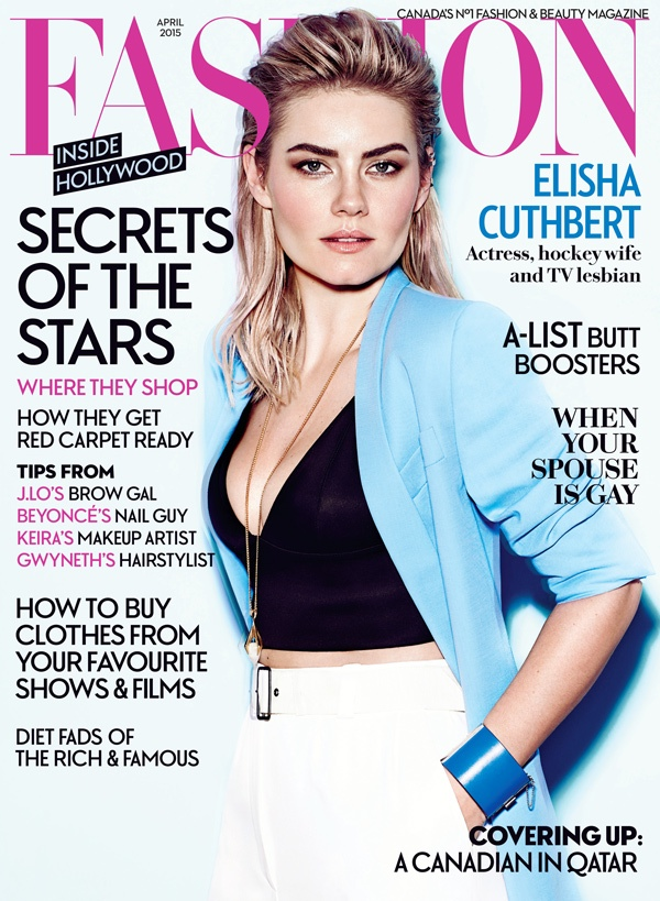 Elisha Cuthbert lands the April 2015 cover from Fashion Magazine.