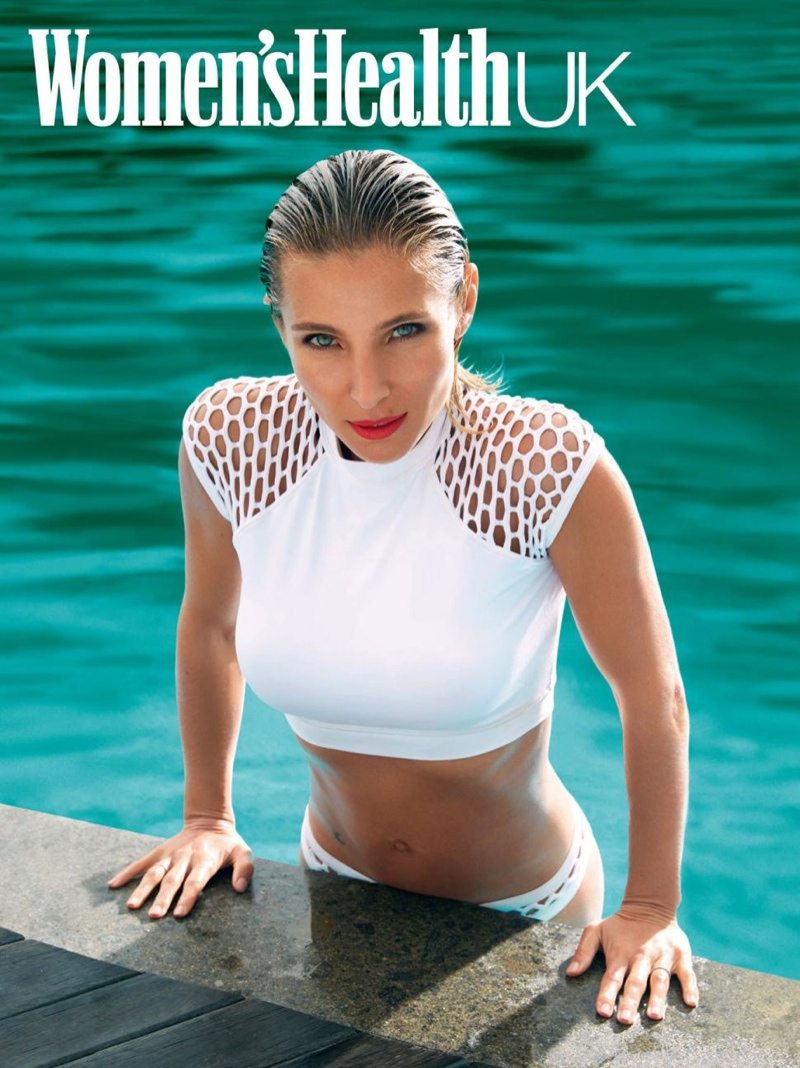 Elsa Pataky wears a white hot swimsuit look in Women's Health UK.