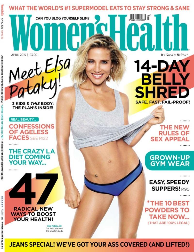 Elsa Pataky graces the April 2015 cover of Women's Health UK.