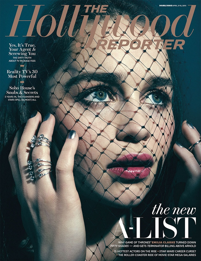 Emilia Clarke lands the April 3, 2015, cover from The Hollywood Reporter.