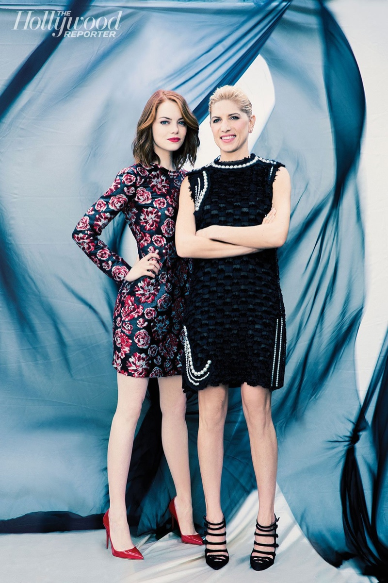 Emma Stone and her stylist Petra Flannery pose for The Hollywood Reporter's annual Stylists issue.