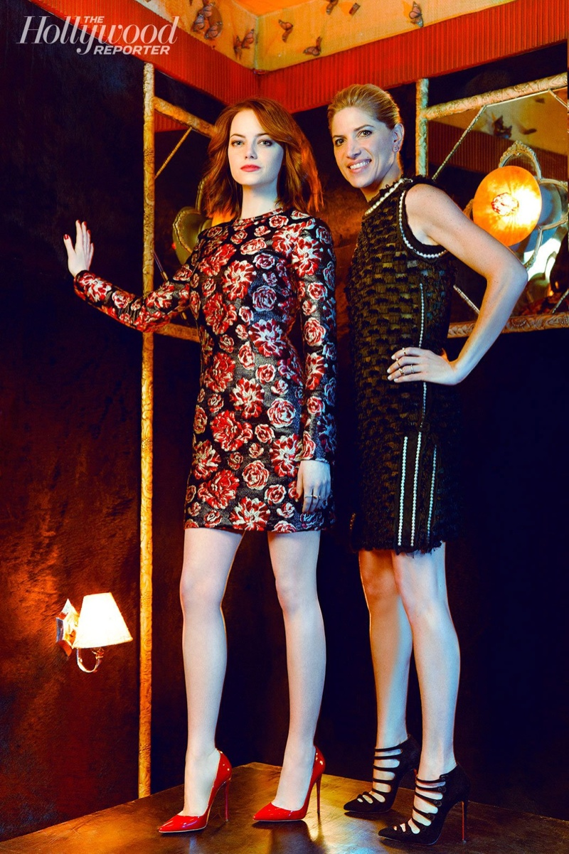 Emma and Petra wear dresses from Lanvin with shoes by Christian Louboutin.