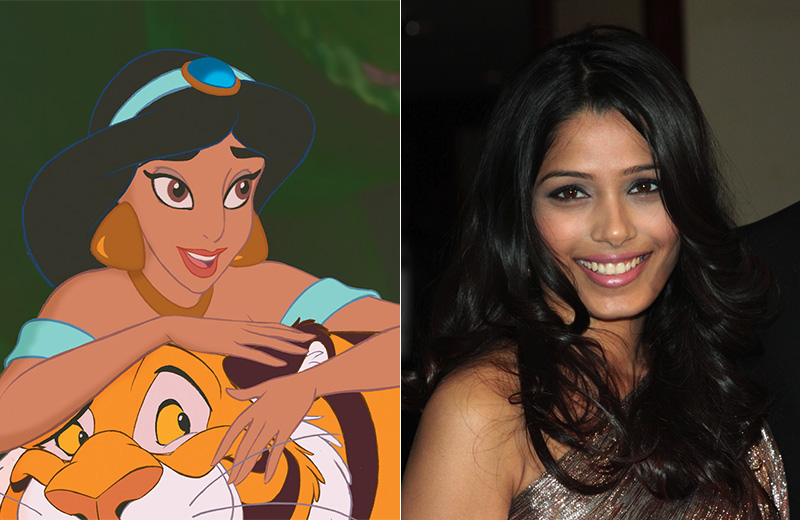 Freida Pinto is an Indian actress known for her breakout role in the Oscar-winning film 'Slum Dog Millionaire'.  Don't you think Freida would make a marvelous Jasmine from 'Aladdin'? Photo: Disney/Shutterstock.com