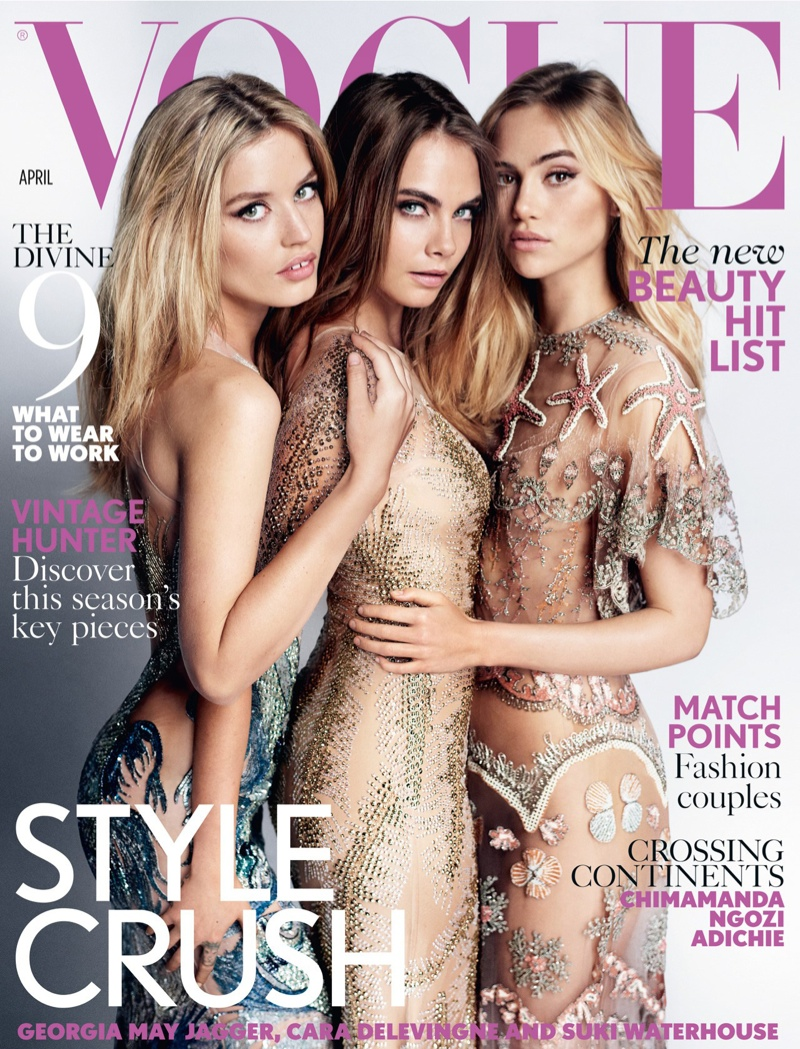 Georgia May Jagger, Cara Delevingne and Suki Waterhouse wear sequin embellished and sheer gowns on Vogue UK April 2015 cover.