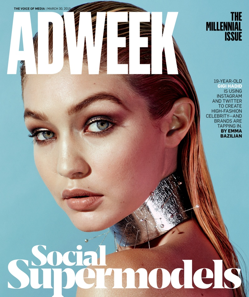 Gigi Hadid lands the March 30, 2015, cover of Adweek Magazine photographed by Alexei Hay.