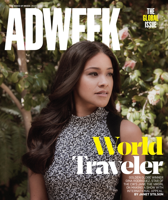 Gina Rodriguez poses on Adweek March 2015 cover by Jeremy Goldberg