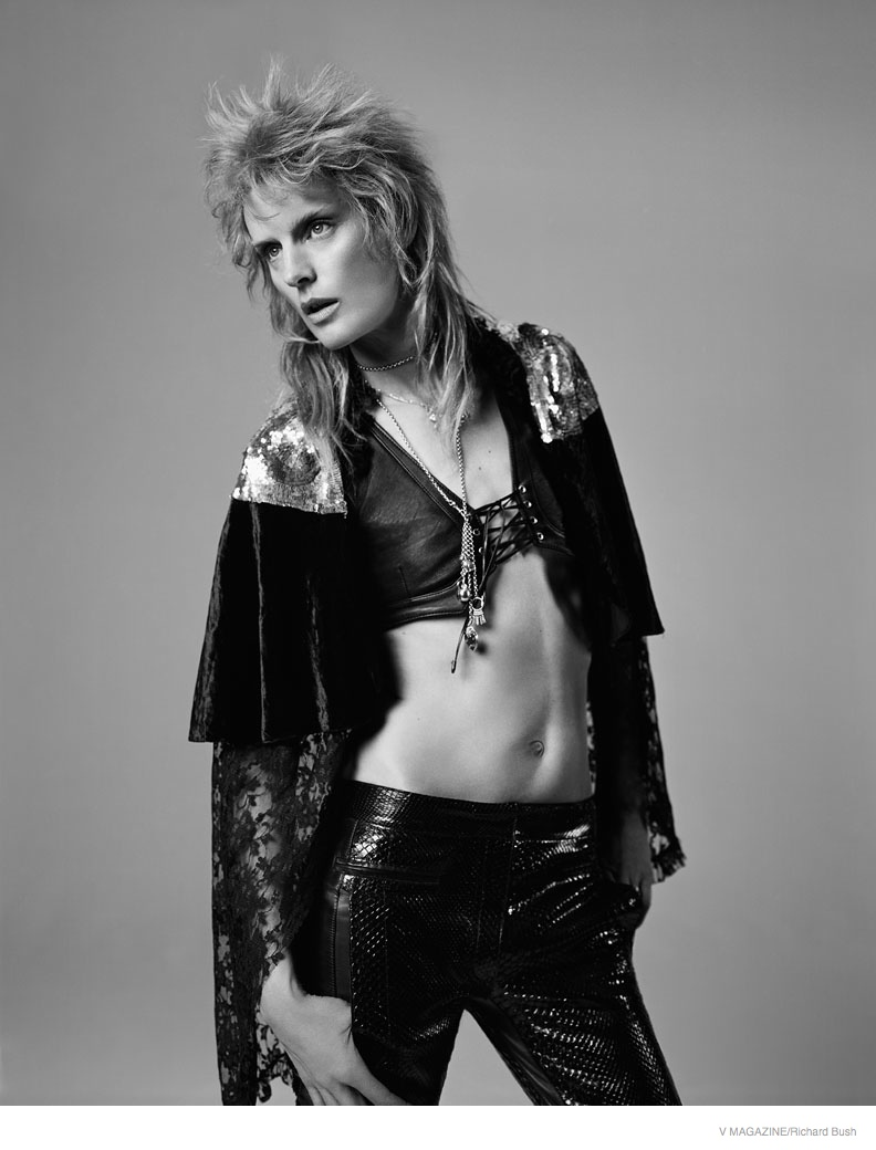 A black and white image showcases draping fabric and leather pants.
