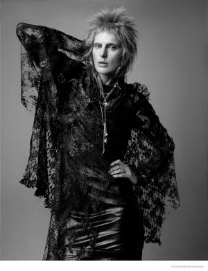 Stella Tennant Models Glam Rock Fashion Looks for V Magazine