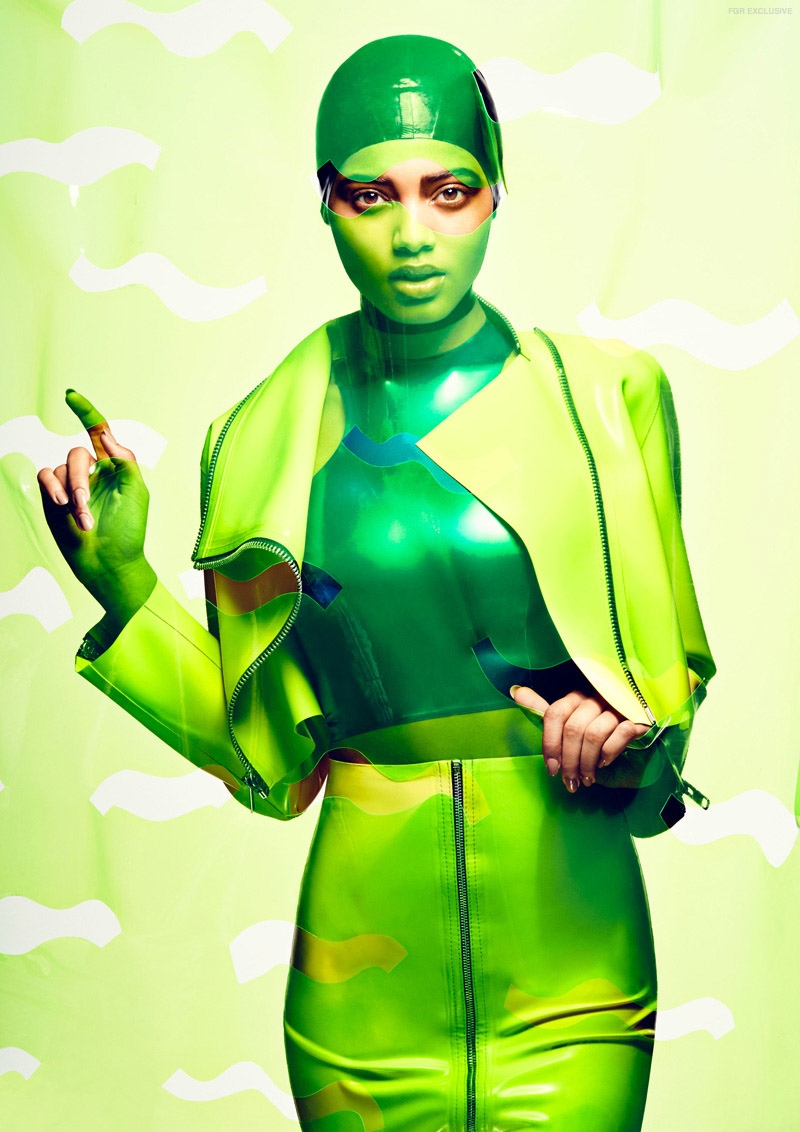 Danielle has a green moment while clad in looks from Syren Couture